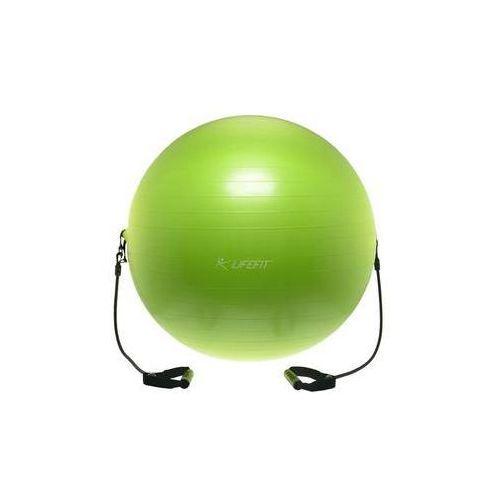 Piłka gimnastyczna z ekspanderem gymball expand 75 cm, zielona marki Lifefit