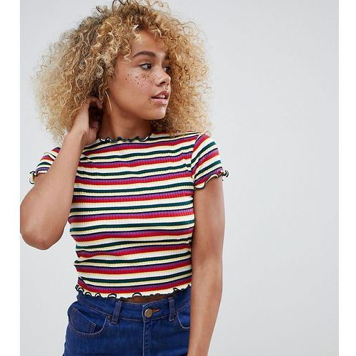 Asos design petite 90s crop top in retro stripe with lettuce edges - multi, Asos petite