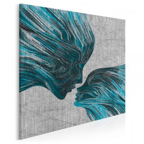 Taniec żywiołów w błękitach - nowoczesny obraz na płótnie - w kwadracie
