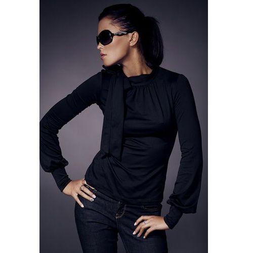 Czarna fantazyjna bluzka z półgolfem i kokardą marki Nife