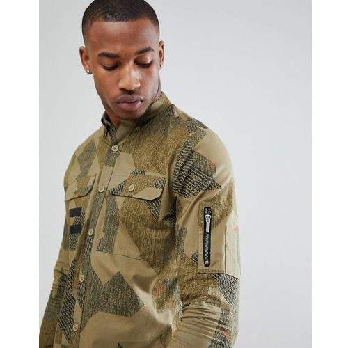 Only & Sons Slim Fit Shirt With All Over Print And Military Pockets - Green, kolor zielony