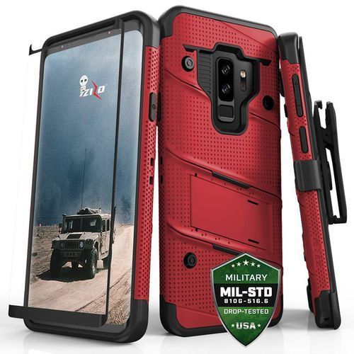 bolt cover etui pancerne samsung galaxy s9+ plus (red/black) + szkło hartowane na ekran marki Zizo