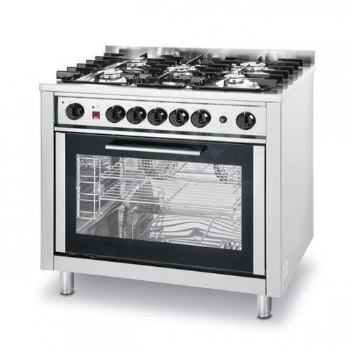 Kuchnia gazowa - 5-palnikowa kitchen line z konwekcyjnym piekarnikiem i z grillem marki Hendi