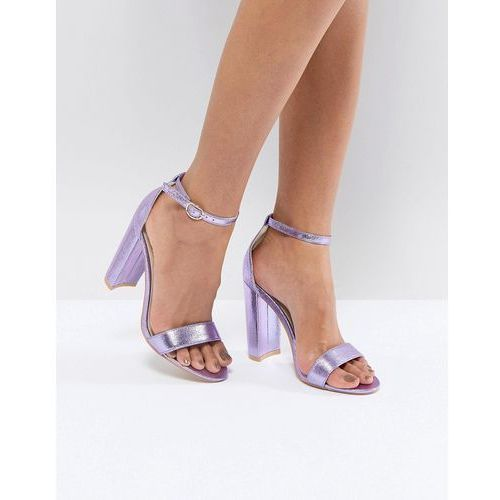 metallic purple barely there block heeled sandals - blue, Glamorous
