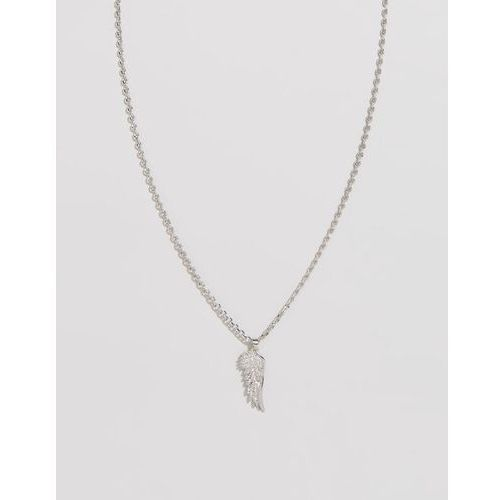 Chained & able wing pendant necklace in silver - silver