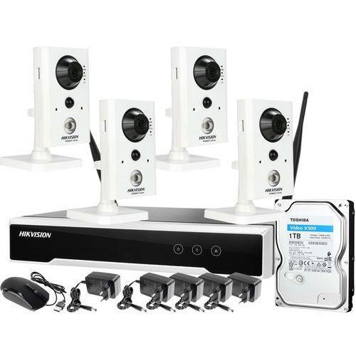 ZM12895 Hikvision Zestaw monitoringu bezprzewodowego do sklepu małometrażowego 4 kamery z mikrofonem i czujnikiem ruchu PIR WiFi Full HD Dysk 1TB, ZM12895