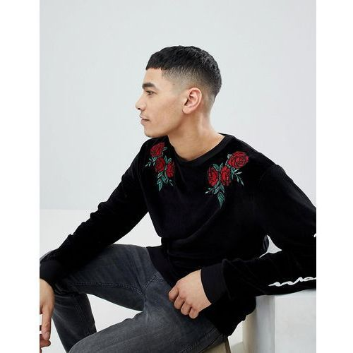 sweat with floral embroidery in black velvet - black marki Boohooman