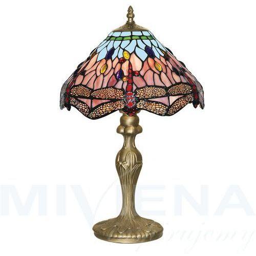 Dragonfly lampa stołowa 1 patyna szkło witrażowe