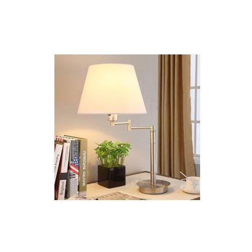 Lampa stojąca z abażurem z tkaniny na wysięgniku od producenta Lampenwelt