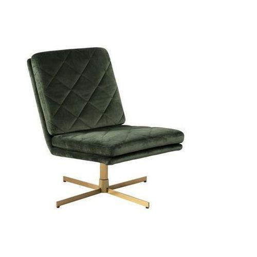 ACTONA fotel obrotowy CARRERA ciemny zielony - welur, złota podstawa - Ciemny zielony, kolor zielony