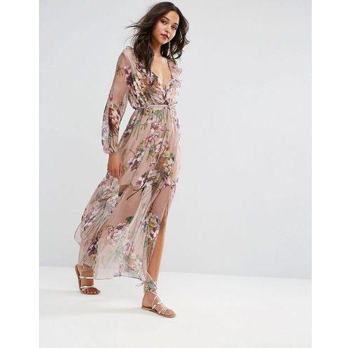 Boohoo Floral Print Tie Waist Maxi Dress - Pink