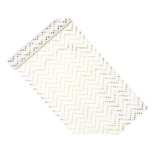 Dekoracja bieżnik na stół biały w złote gwiazdki - 9 m - 1 szt. (5900779103047)