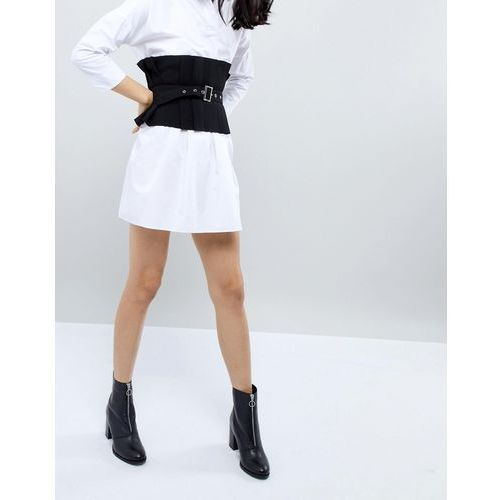 ASOS Pleated Wide Causal Corset Belt With Belt Overlay - Black