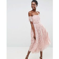 ASOS Off the Shoulder Lace Prom Midi Dress - Beige, kolor beżowy
