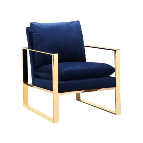 Fotel royal z poduszką aksamit złoto marki Design town