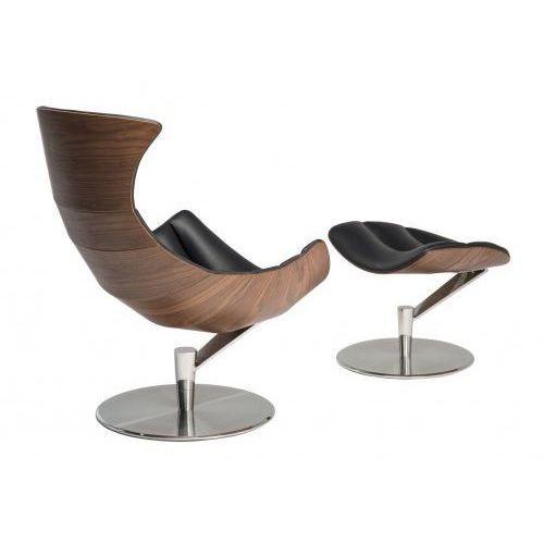 Fotel z podnóżkiem Arhus czarna skóra/jasny orzech, kolor czarny