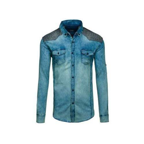 Koszula męska jeansowa we wzory z długim rękawem granatowo-szara denley 0517-1, Madmext