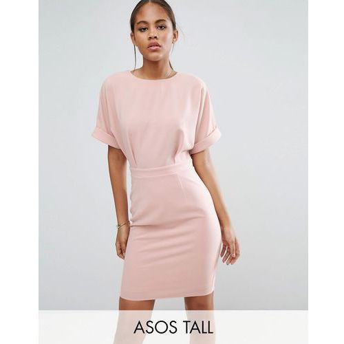 ASOS TALL Smart Woven Mini Dress with V Back - Pink
