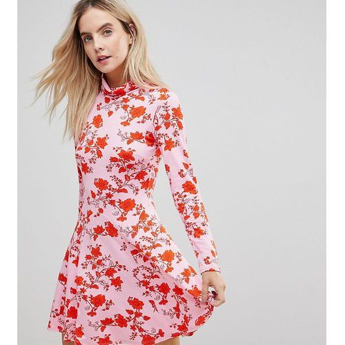 polo neck mini dress with godets in floral print - pink, Asos petite