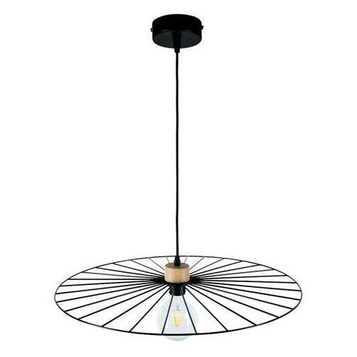 Spot-light Lampa wisząca antonella czarna, detal drewno Ø65cm (5903313994729)