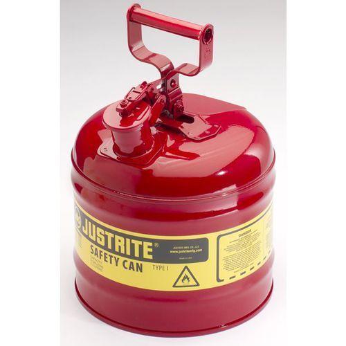 Justrite Bezpieczny pojemnik, blacha stalowa, poj. 7,5 l, czerwony. z blachy stalowej. pr