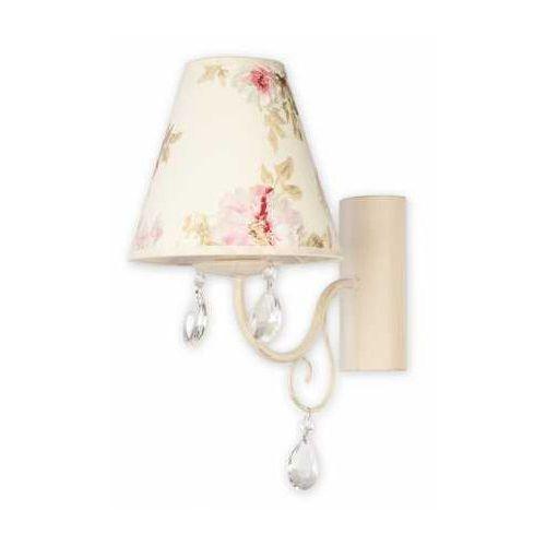 Lemir Velio Abażur O1960 AB KW kinkiet lampa ścienna 1x60W E27 antyczna biel / kwiaty