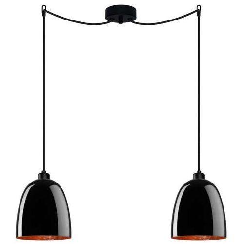 Sotto luce Lampa wisząca awa 2/s/black/copper szklana oprawa zwieszana czarna (1000000199291)