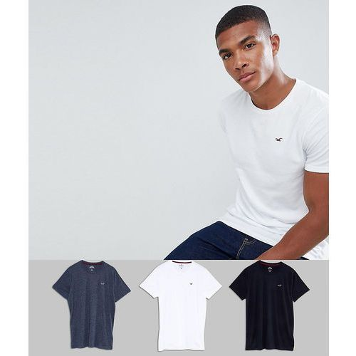 Hollister 3 Pack Crewneck T-Shirt Seagull Logo Slim Fit in White/Grey/Navy - Multi