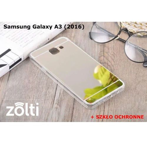 Slim mirror / perfect glass Zestaw | slim mirror case srebrny + szkło ochronne perfect glass | etui dla samsung galaxy a3 (2016)