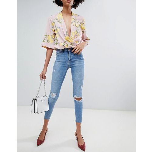 molly distressed raw edge skinny jeans in mid wash - blue, River island