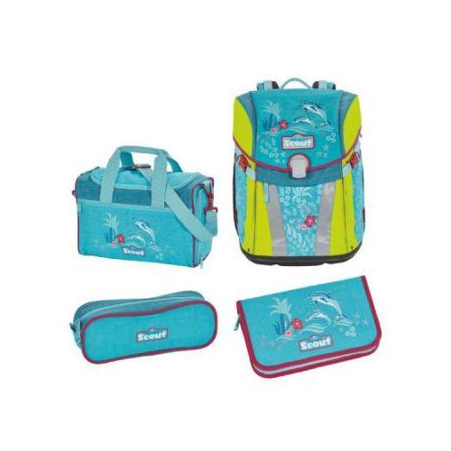 Scout sunny plecak z akcesoriami szkolnymi, 4-częściowy - happy dolphins