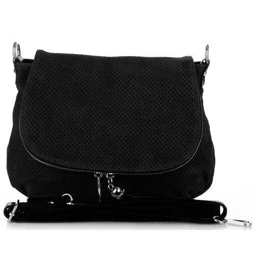 Włoska ażurowana torebka skórzana litonoszka czarna (kolory) marki Genuine leather