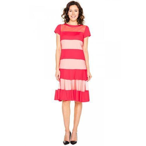 Czerwona sukienka z siateczką - Margo Collection, 1 rozmiar