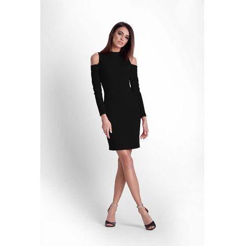 5b830fa720 Czarna ołówkowa sukienka na stójce z wyc.