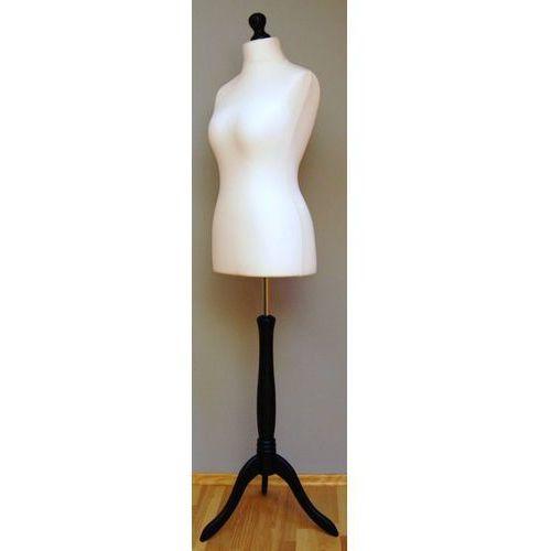 Manekin krawiecki - tors kobiecy krótki ecru - rozmiar 34 na drewnianym, czarnym trójnogu