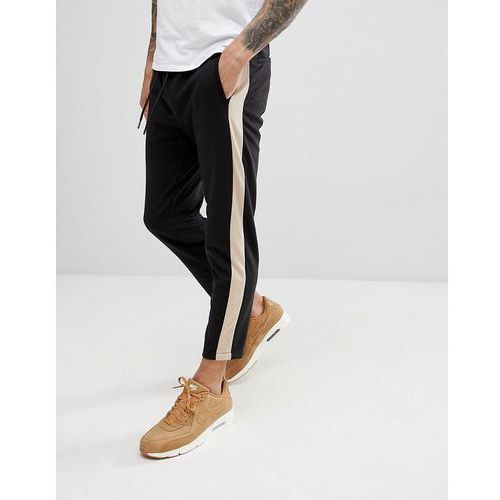 Bershka Side Stripe Joggers In Black - Black