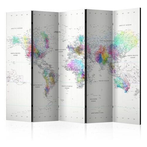 Artgeist Parawan 5-częściowy - parawan: mapa świata biało - kolorowa