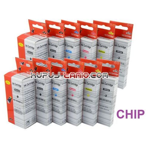 Tusze pgi-550bk xl - cli-551 xl (12 szt z chipami, ) do canon mg7150, mg7550, mg6350, ip8750 marki Arte