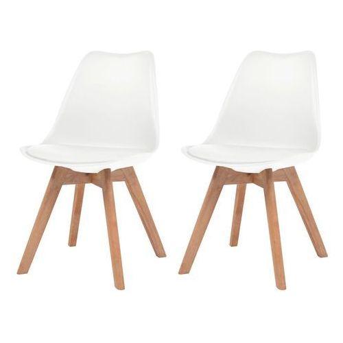 Vidaxl krzesła do jadalni, 2 szt., sztuczna skóra, lite drewno, białe (8718475565505)