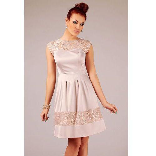 Beżowa wizytowa subtelna sukienka z koronką bez rękawów marki Vera fashion