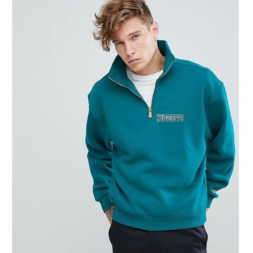 New era denver nuggets 1/4 zip sweat with back print in green exclusive to asos - green