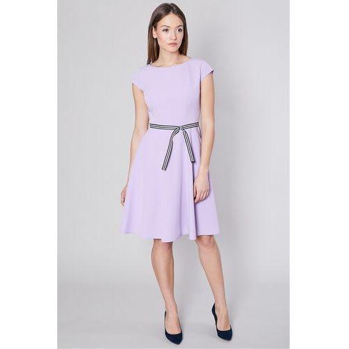 Rozkloszowana sukienka w kolorze wrzosowym - Click Fashion, kolor fioletowy