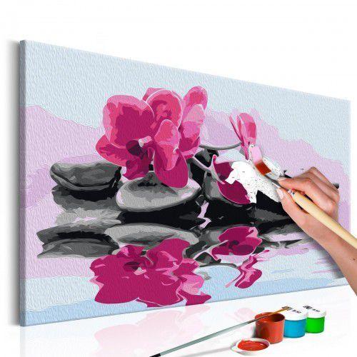Artgeist Obraz do samodzielnego malowania - orchidea i kamienie zen w lustrze wody