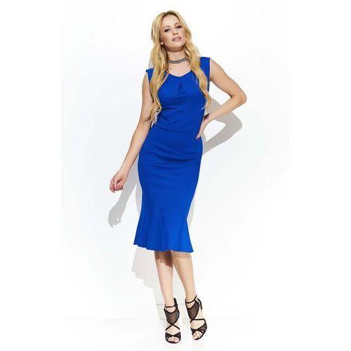 c83cf9d6dc Chabrowa Elegancka Sukienka Midi w Stylu Rybki