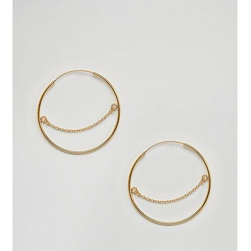 gold plated sterling silver hoop earrings with chain detail - gold marki Asos design