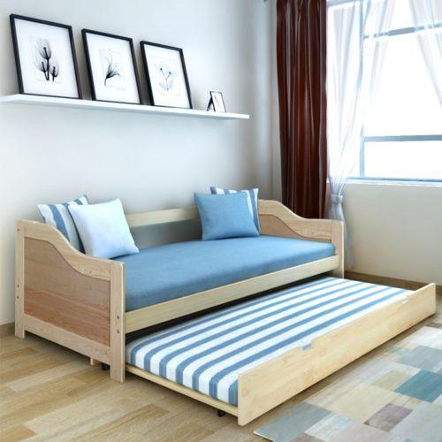 vidaXL Wysuwane łóżko sosnowe/sofa 200x90 cm Naturalny kolor