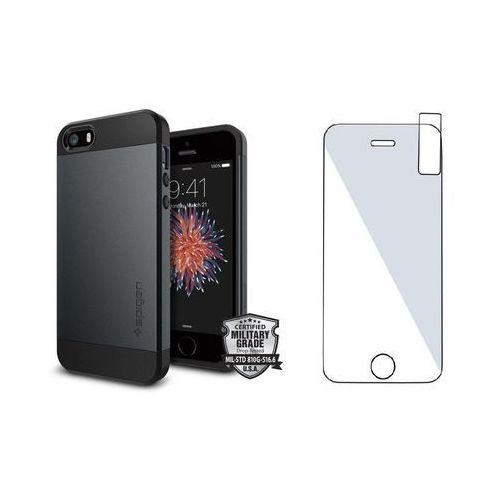 Zestaw | spigen sgp slim armor metal slate | obudowa + szkło ochronne perfect glass dla modelu apple iphone 5 / 5s / se marki Sgp - spigen / perfect glass
