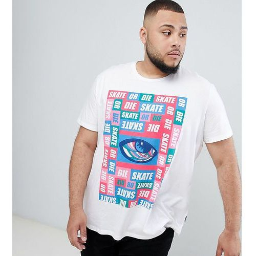 Burton Menswear Big & Tall t-shirt with retro print in white - White, kolor biały