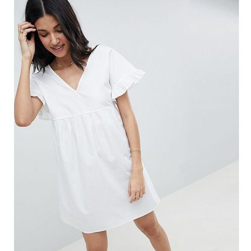 Asos design tall v front v back mini cotton smock dress - white, Asos tall