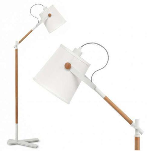 Zumaline Nowoczesna lampa podłogowa nordica 4920 abażurowa oprawa stojąca regulowana główka biała